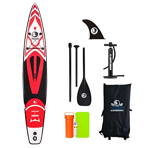 LANYU BAUER Red Inflatable Stand Up Paddle Board, 14' Kayaks (6''Thick) with Free ISUP Paddle Board Accessories, for Adult, Youth, Professional