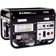 Lifan Pro Series LF-3750-CA 3750 Watt Commercial/Contractor/Rental Grade 6.5 HP 196cc 4-Stroke OHV Gas Powered...