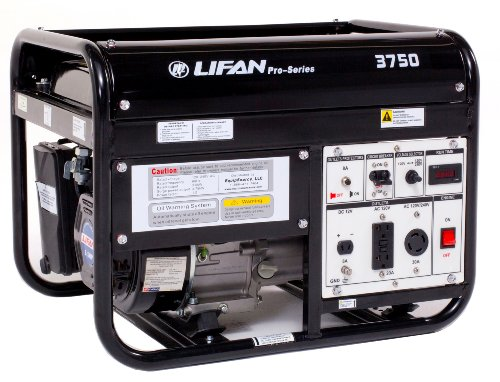 Lifan Pro Series LF-3750-CA 3750 Watt Commercial/Contractor/Rental Grade 6.5 HP 196cc 4-Stroke OHV Gas Powered Portable Generator with Copper Wound Alternator, GFCI and OSHA Compliant (CARB Certified) -  LF3750-CA