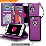 Navor Magnetic Detachable Wallet Case [RFID Protection][8 Card Slots] [3 Money Pocket] Compatible for iPhone 7 & 8-4.7 Inch [JOOT-3L]- Purple (IP73LPP)