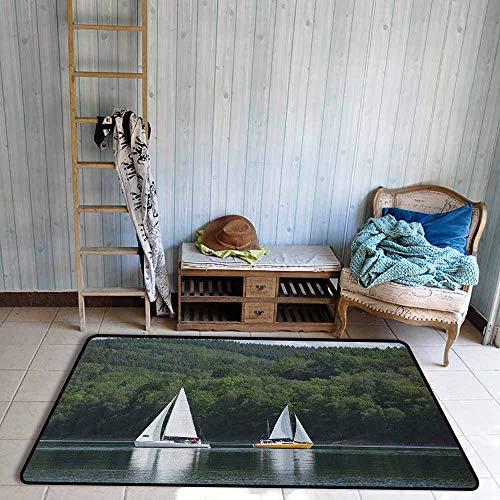 Custom Rug,Sailboat Sailboats on a Lake Forest Hill Yachting Countryside Coastline Nature Scenics,Anti-Slip Doormat Footpad Machine Washable,4'7