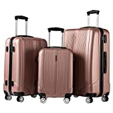 Luggage Set 3 Piece Set Suitcase set with TSA Lock Spinner Hard shell Lightweight (Rose gold)