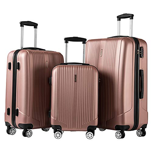 Roller Luggage Set - Luggage Set 3 Piece Set Suitcase set with TSA Lock Spinner Hard shell Lightweight (Rose gold)