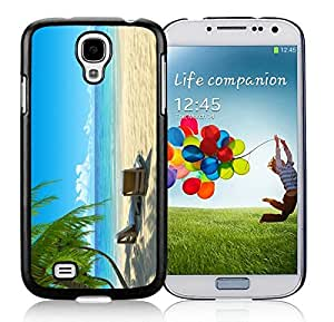 linJUN FENGCustom Samsung Galaxy S4 Case Chairs on Beach W Palmtrees Durable Soft Silicone Rubber Black Phone Cover