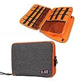 BUBM Original Multi-function Soft Waterproof Handbag Double Layer Travel Gear Organizer / Electronics Accessories Bag / Phone Charger Tablet Case (Gray Orange)