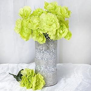 BalsaCircle 60 Lime Green Silk Peony Flowers - 12 Bushes - Artificial Flowers Wedding Party Centerpieces Arrangements Bouquets Supplies 7