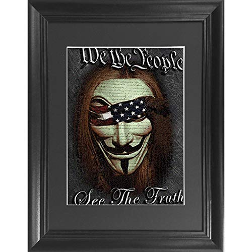 We The People Vendetta Movie 3D Poster Wall Art Decor Framed Print | 14.5x18.5 | Lenticular Posters & Pictures | Memorabilia Gifts for Guys & Girls Bedroom | See the Truth Hacker Anonymous Mask Poster ()