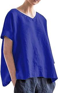 piabigka 2019 Débardeurs,T-Shirt Ample en Vrac,Chemisier Décontracté en Lin À Manches Courtes À Col en V