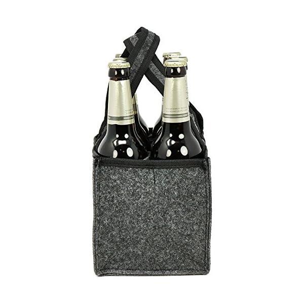 51vPvVqhS4L com-four® Herrenhandtasche - Filztasche für Getränke - Flaschentasche aus Filz für 6 Flaschen - 6er Träger bis 0,5 L…