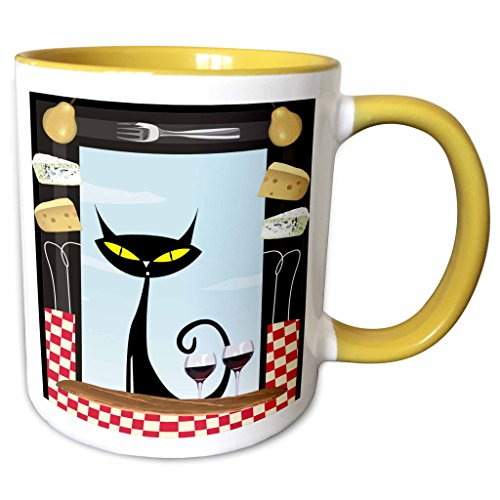 3dRose Spiritual Awakenings Cats Animals - Gourmet food frame cheese, checkered table cloth, wine glasses and a black fancy cartoon cat - 15oz Two-Tone Yellow Mug (mug_128912_13) ()