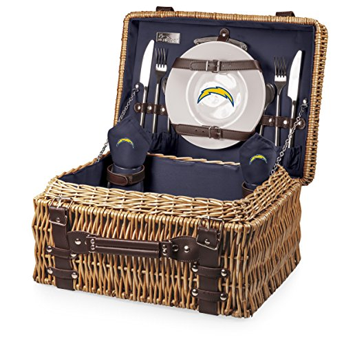 NFL Los Angeles Chargers Champion Picnic Basket with Deluxe Service for Two, Navy by PICNIC TIME