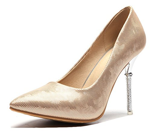 Aisun Womens Sexy Low Cut Pointed Toe Dressy Slip On Stiletto High Heel Party Bridal Pumps Shoes Gold ZCAHFQGu