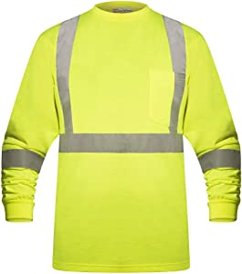 High Visibility Fluorescent Safety T-Shirt - Full Sleeve - 100% Cotton (Small, Yellow)