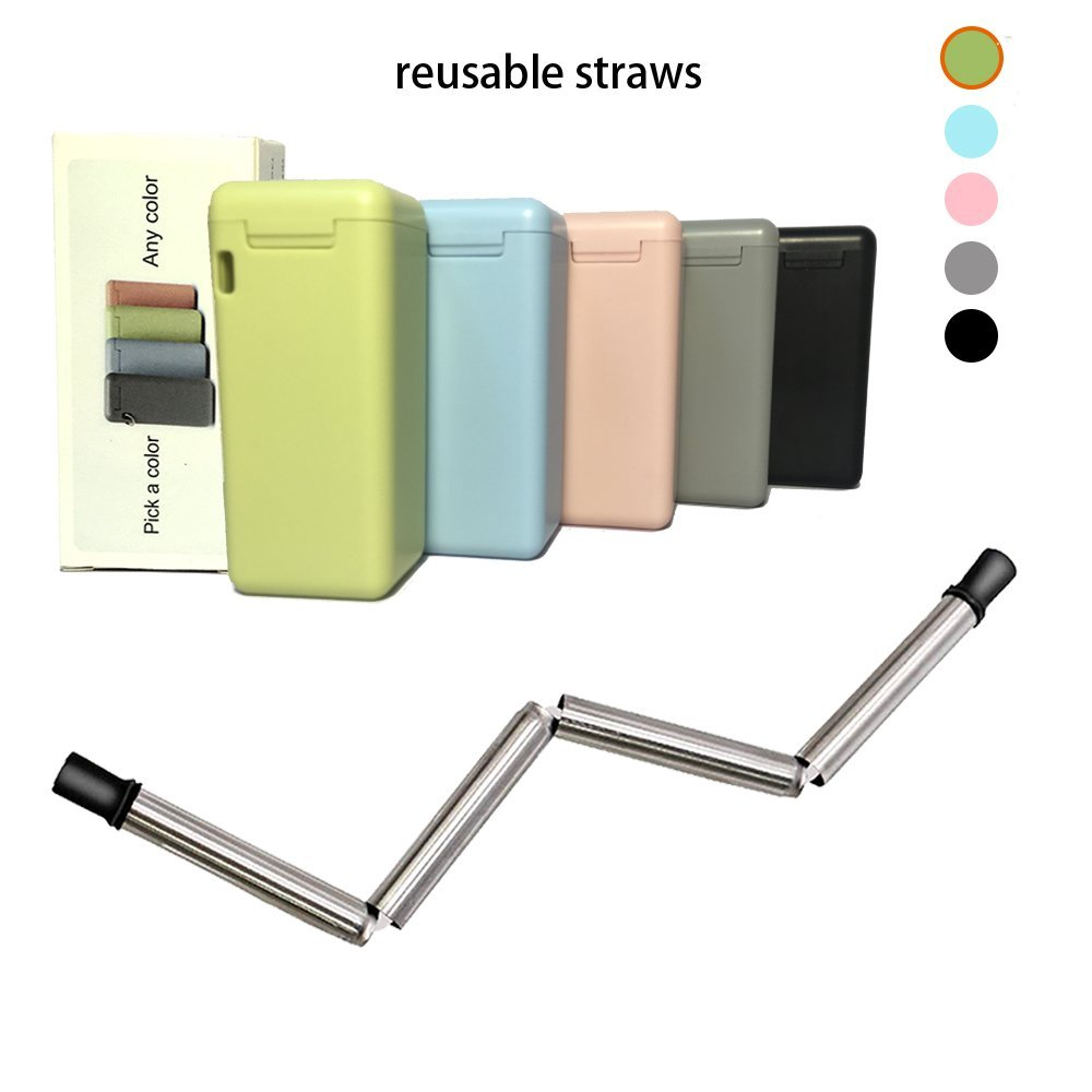 Final Collapsible Straw Keychain Stainless Steel Straws Folding Drinking Straws, Portable Travel Household Reusable Straws Medical-Grade Food-Grade Drinking Straws Have Cleaning Brush(Olive Green)