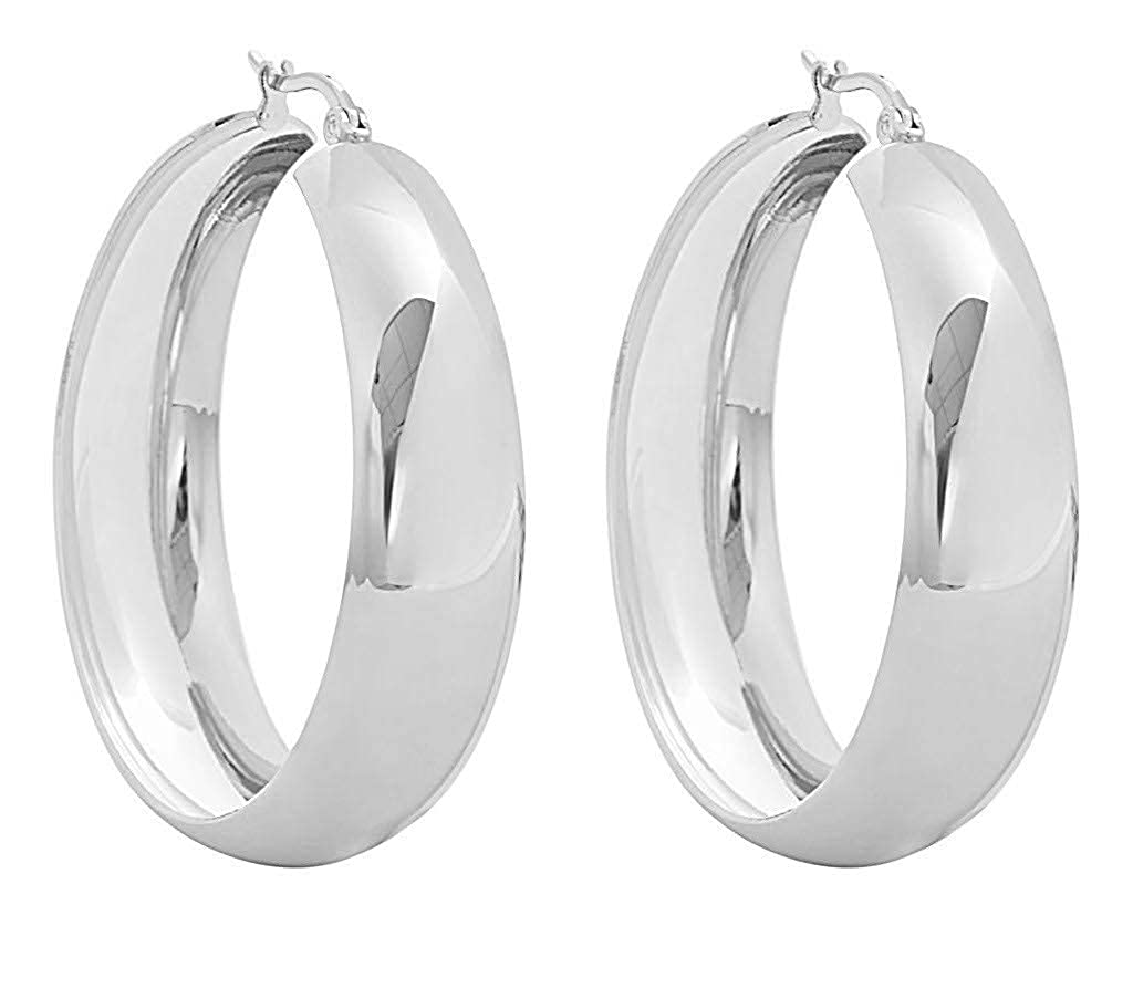 18K Gold Plated Stainless Steel Lead-free Hypoallergenic Thick Large Hoop Earrings with Click-Top, 1.57 1.57 Edforce Stainless Steel Thick-Hoop-3