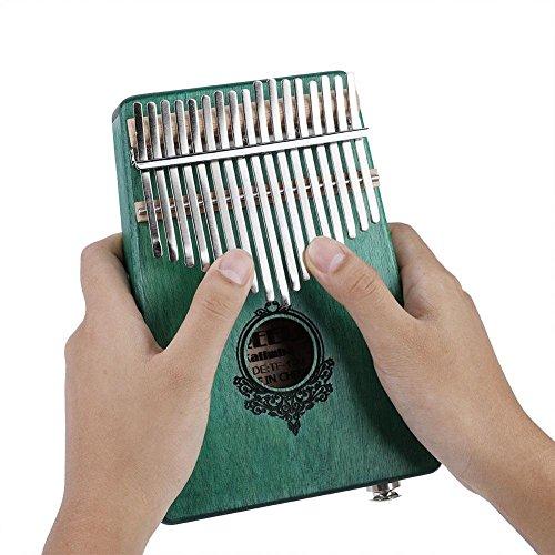 17 Key Finger Piano, Mahogany Portable Kalimba Pocket Size Piano with Build-in ()