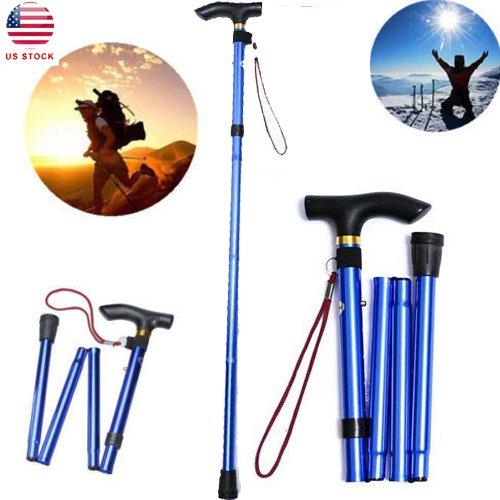 Tinksky Non-slip Adjustable Height Aluminum Alloy Folding Walking Stick Cane Travel Crutch Alpenstock (Blue)