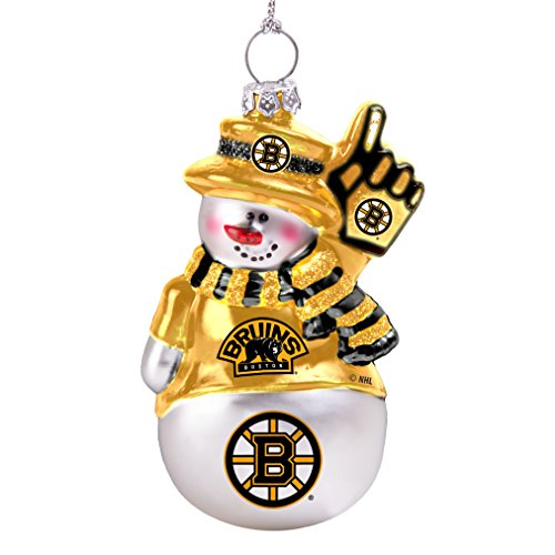 NHL Boston Bruins Glitter Snowman Ornament
