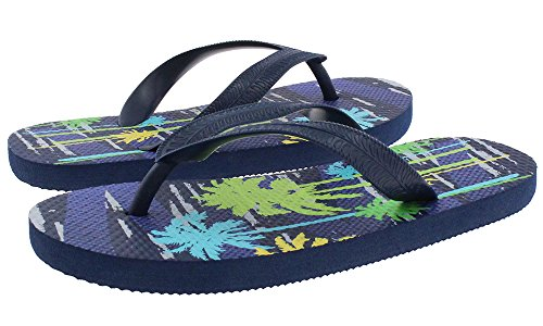 Capelli New York Textured Matte Opaque Jelly Thong with Red Palm Trees Print Boys Flip Flop Navy Combo 12/13 Cmb Matte