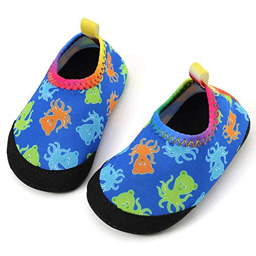 Panda Software Baby Boys Girls Water Shoes Infant Barefoot Quick -Dry Anti- Slip Aqua Sock for Beach Swim Pool Blue-Octopus/0-6 Months M US Infant