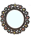 Jai amba Crafts Wooden Round Shape Decorative Wall Mirror/Makeup Mirror with Glass Beads (16 X 16 Inches)