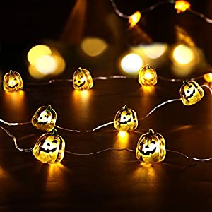 YUNLIGHTS Halloween Pumpkin String Lights 40 LEDs with 7 Modes 3 Meters Waterproof, Battery Operated With Remote &Timer