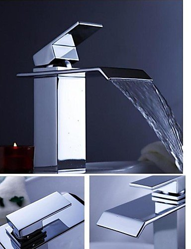 Contemporary Single Handle One Hole WaterfaÖl Bathroom Sink Faucet