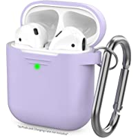AhaStyle Upgrade AirPods Case Silicone Protective Cover Skin [Front LED Visible] Compatible with AirPods 2 and 1(Lavender)