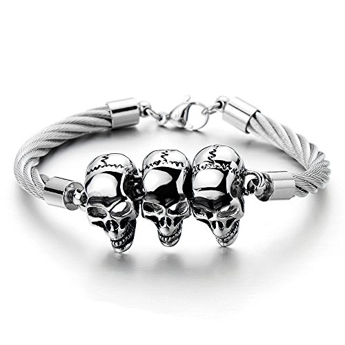 Unique Mens Skull Cuff Bangle Stainless Steel Twisted Cable Bracelet Silver Color Polished (Bracelet Twisted Silver)