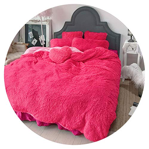 (Beddings Set 3/4/6/7 pcs Pure Color Mink Velvet Bedding Sets 8 Colors Lambs Wool Fleece Duvet Cover Set Bed Skirt Fitted Twin Queen King Size,JZJF5,King Size 7pcs)