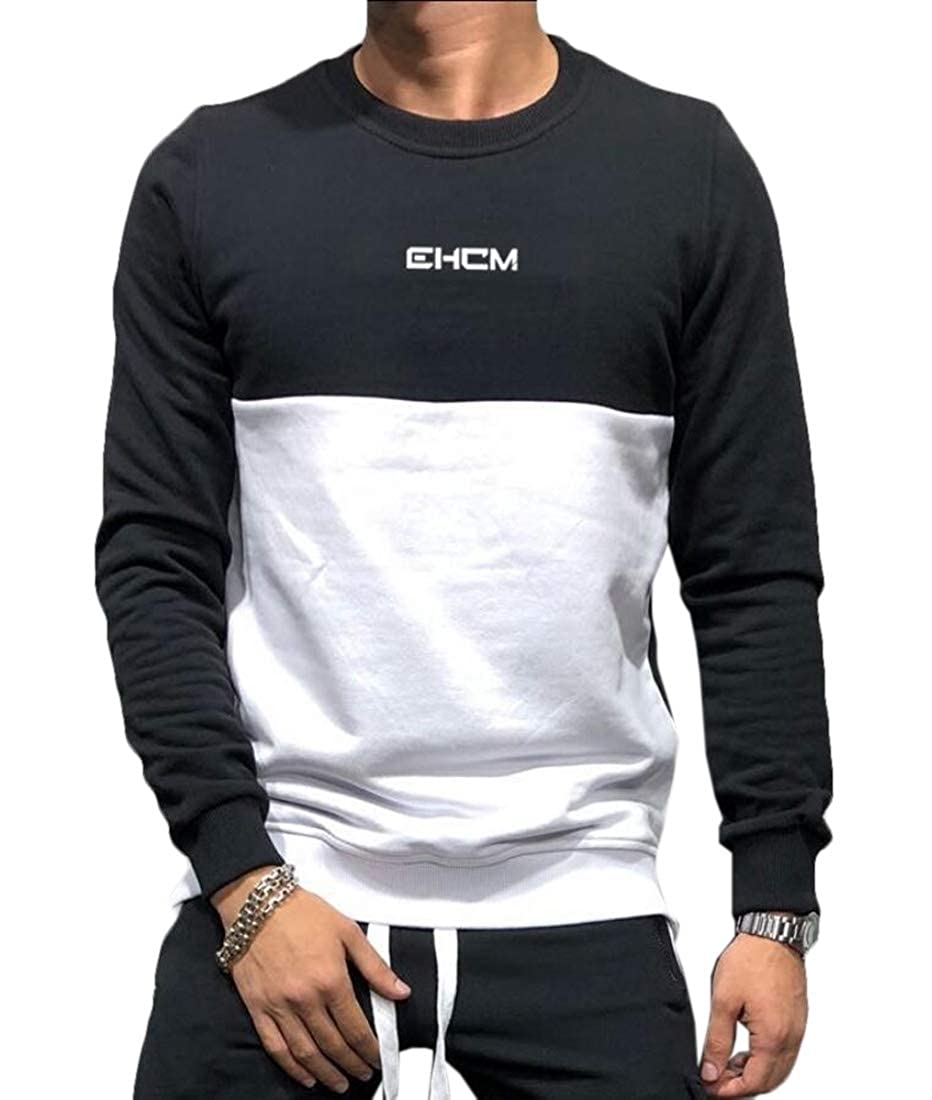 zhaoabao Mens Round Neck Gym Color Stitching Sport Workout Pullover Sweatshirts