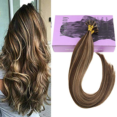 (VeSunny 16inch Flat Tip Glue in Hair Extensions Human Hair Color #4 Dark Brown Highlighted #27 Caramel Blonde Fusion Glue Tip Hair Extensions Remy Straight Hair 1G 50Strands)