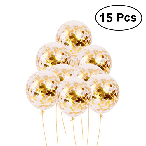 TOYMYTOY Golden Confetti Balloons Bulk For Party Wedding Decorations,12 Inch,10 Pcs -