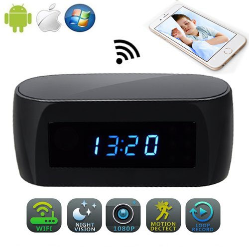 JLRKENG Wireless Spy Hidden Camera 1080P Video Recorder Desk Table Clock for Baby Caring Pet Home Security Cam Motion Detection Alarm Loop Recording Night Vision Nanny Cam