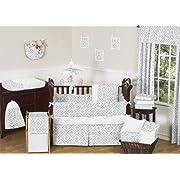 Gender Neutral Gray and White Diamond Grey Baby Boy Girl Geometric Bedding 9pc Crib Set