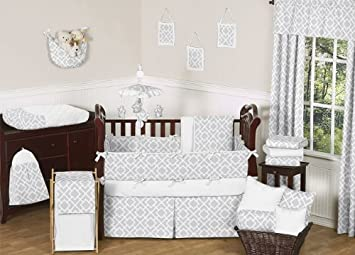Gender Neutral Gray And White Diamond Grey Baby Boy Girl Geometric Bedding 9pc Crib Set