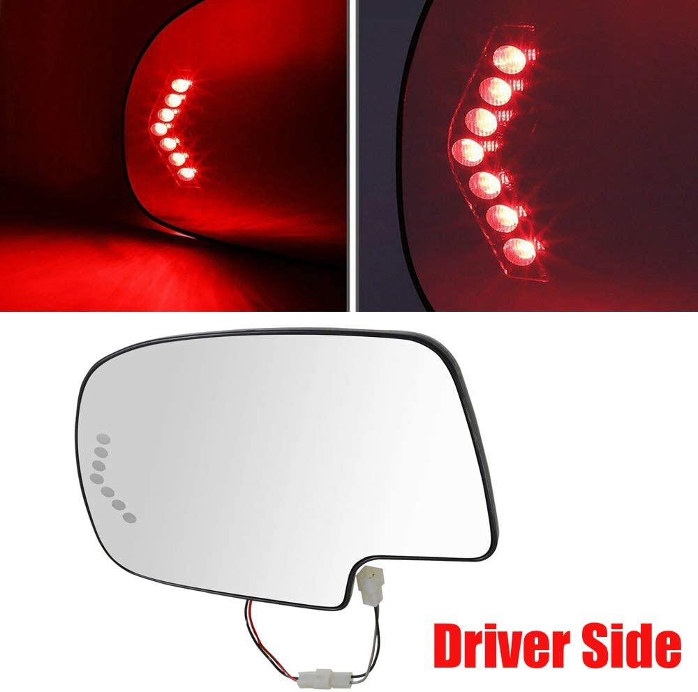 Heated Mirror Glass Turn Signal Without Auto Dimming Driver 1PCS Left Side For 2003 2004 2005 2006 Chevy Silverado//Avalanche//GMC Sierra//Cadillac Escalade//GMC Yukon