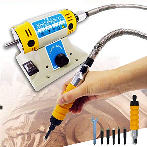 110V Electric Chisel Carving Tool Wood Carving Machine Woodworking Chisel (Host +Chisel + shaft) with 5 Blades ()
