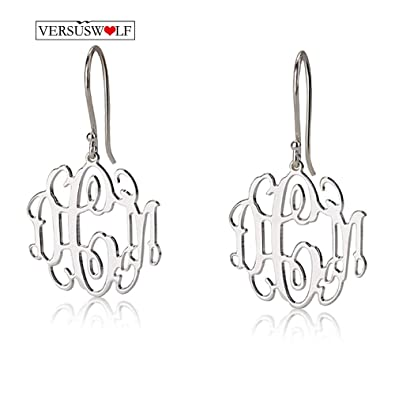134536f38 Image Unavailable. Image not available for. Color: Personalized Monogram  Earrings 925 Sterling Silver ...