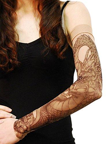 Wild Rose Unisex GRIM REAPER Single Tattoo Mesh Sleeve, Tan, X-Large