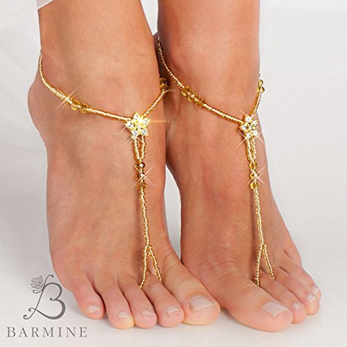 Amazon.com  Gold Barefoot sandals Bridal foot jewelry Golden Rhinestone  Beach wedding Barefoot Sandal Bridal barefoot sandal Beaded Star Barefoot  Sandal  ... be20f5f1a71b