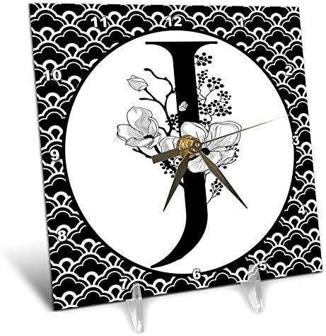 3dRose Anne Marie Baugh – Monograms – Black and White Floral Monogram J On Fancy Scallops – 6×6 Desk Clock dc_318035_1