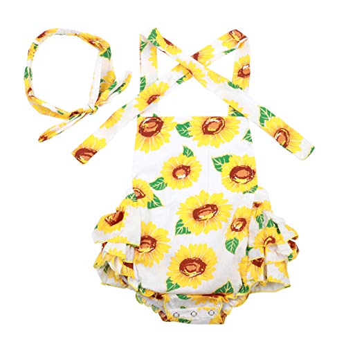 Slowera Baby Girls 2pcs Sets Cotton Ruffles Romper Outfits Clothes (S: 6 Months, Sunflower WhiteBG)