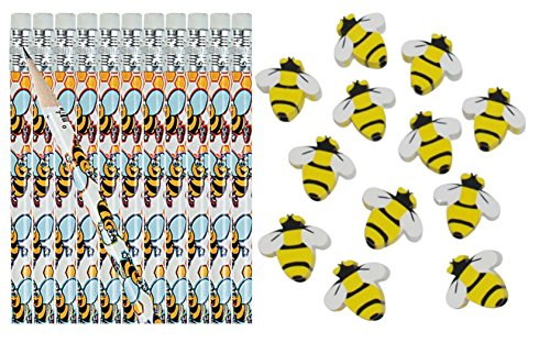 - Bumble Bee Pencils and Erasers- 24 Piece Set