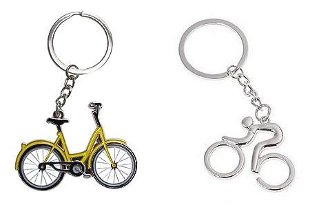 Set de 2 Llavero Bicicleta Amarillo y Plateado de Acero ...