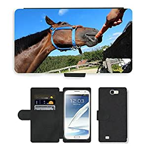 Super Stella Cell Phone Card Slot PU Leather Wallet Case // M00104565 Horse Carrot Food Animal // Samsung Galaxy Note 2 II N7100