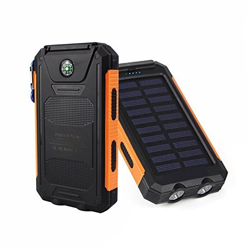 50000mah Solar Power Bank 2 LED 2 USB Battery Charger Waterproof Black & Orange