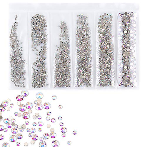 Molyveva Nail Jewelry Accessories Flat Drill Glass Rhinestone AB Symphony Nail Drill Small Diamonds and Small Exquisite Beautiful Appearance