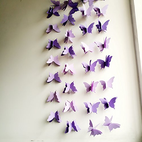 (YCT 3D butterfly decorative garland -110 inch long, a set of 2. (Purple))
