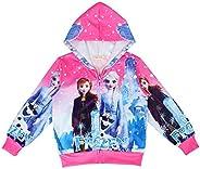 N /A Girl Cartoon Hoodie Kids Zip Sweatshirt Princess Cute Coat School Jacket Outwear
